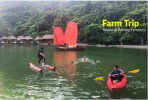 hoạt động chèo thuyền kayak và bơi tai farmstay